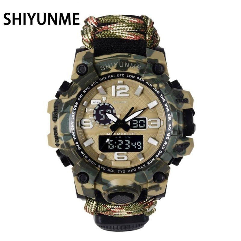 Shiyunme Homens Assista Militar 50 metros À Prova D 'Água Compasso LED Quartzo Digital Digital Exposição Dupla Esportes Relógio Masculino Relogio Masculino 201209