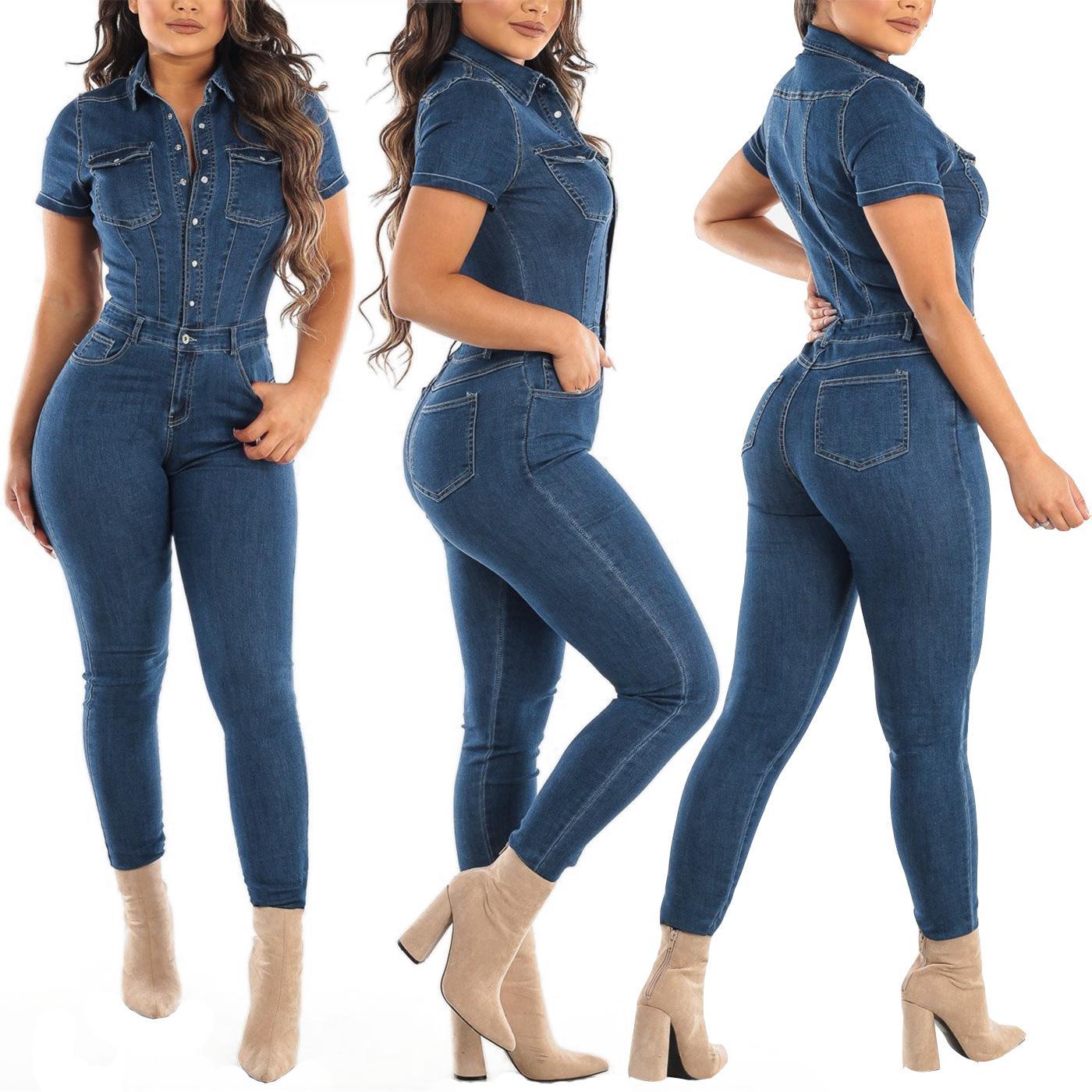 Mode Nouvelle combinaison à manches courtes Jeans Body Body Sexy Femmes Denim Chaude Casual Dossier Rompes Streetwear Taille S-2XL Real Photos