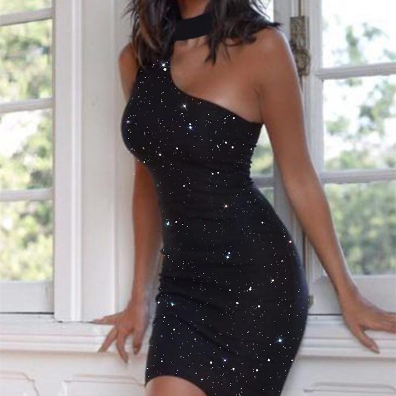 2020 Nova Moda Mulheres Sexy Dresses Clubwear O Pescoço Oco Out Brilhante Slim Penci Vestido Um Ombro Mini Sundress1