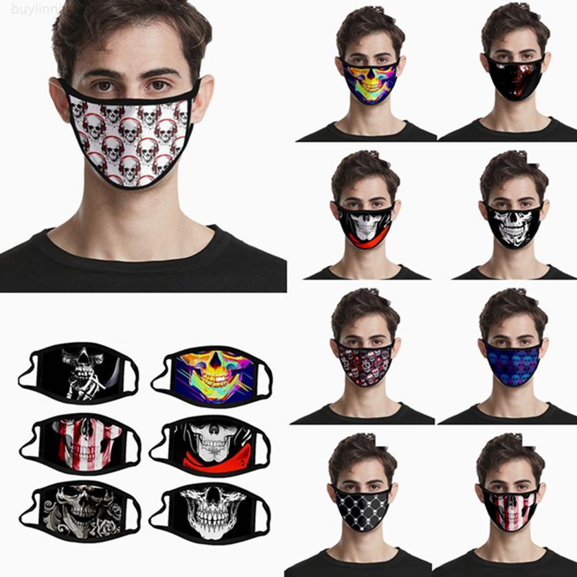 Silk 40Style Ткань для ткани Печать рот череп Маска Многоразовая моющаяся хэллоуин Party Masquerade Masks HHA1536MHIC