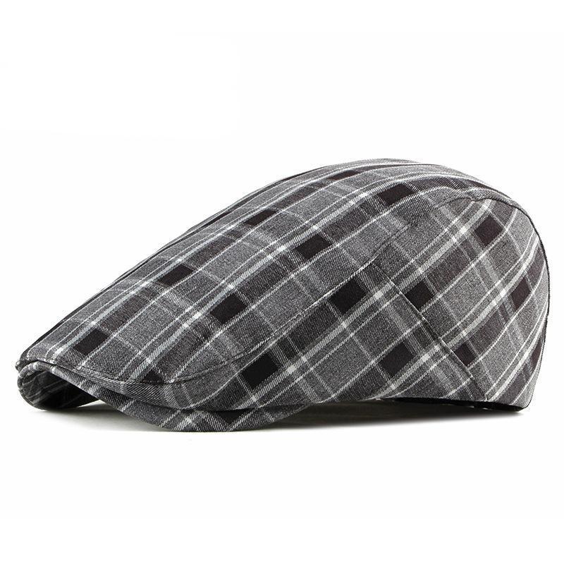 Береты весна Летний британский стиль клетки для мужчин Женщины Высокое Качество Повседневная Хлопок Регулируемые Хаки Серые Пики Шляпы Шляпы