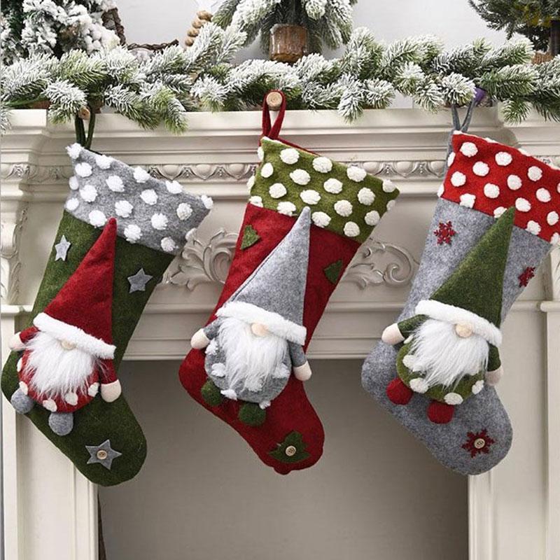 Decoraciones de Navidad 1 unid para el hogar SOCK TREE Decoración Año Saco Saco Regalo de Navidad Bolsa de caramelo