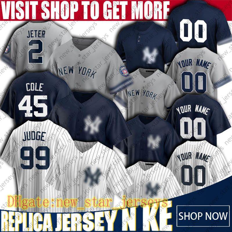 New Custom York Baseball Yankees Jerseys 99 Aaron Judge Jersey Derek Jeter Jerseys Gerrit Cole DJ Lemahieu Jersey Gary Sanchez Maglie