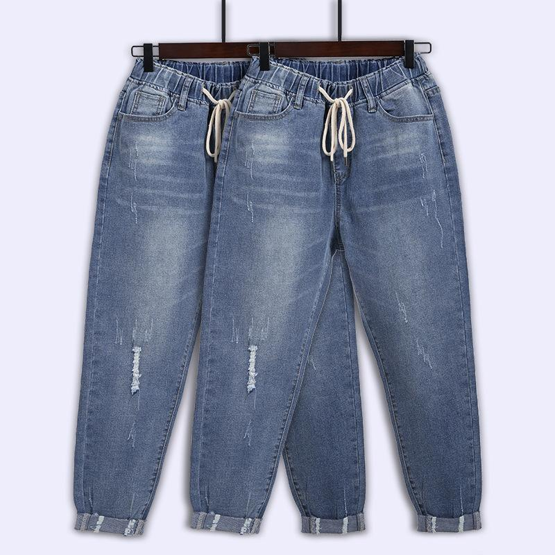 Джинсовые джинсы Женщины Большой Размер L-8XL Свободные Бренд Европейская и Американская Тонкая Свободные Гарема Брюки Женщины Новая Эластичная талия W0104