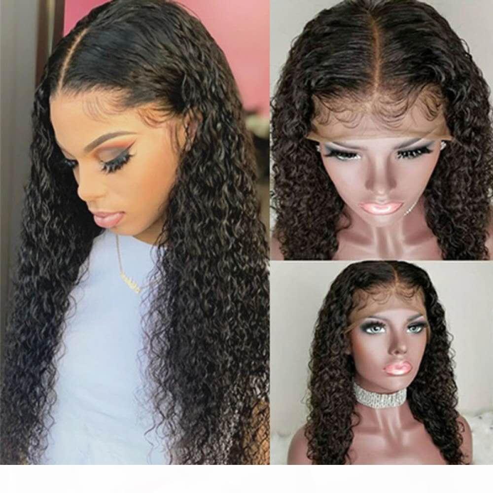 Parrucca frontale precipitata per acqua arricciata 360 parrucca frontale del pizzo 150% Densità ad alta coda di cavallo Ponytail Brasiliana Virgin Virgin Wigs
