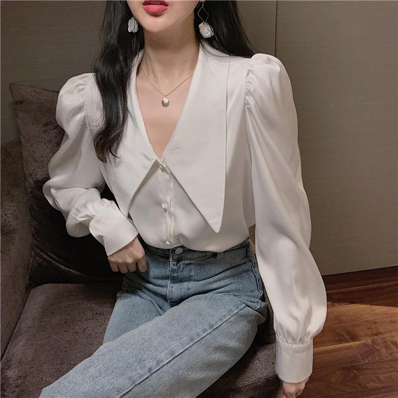 Причудливо! Big Downy Color Blouse Office Lady Puff Рубашка Рубашка Женщины Лучший Смадри Стиль Chemise Femme Blusa Mujer Camisa T200429