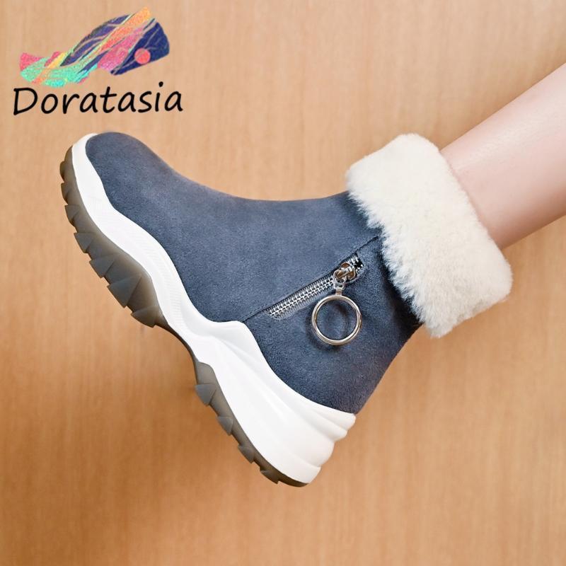Doratasia vaca gamuza de cuero genuino de cuero redondo para mujer con cremallera cremallera piel espesa zapatos de invierno botas informales mujeres botas de nieve