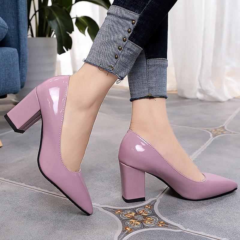 Mulheres Bombas Moda Grande Tamanho 4-10.5 Ponto Ponto Elegante Mulher Sapatos Raso Square Heel Aument Stiletto Outono Y200111