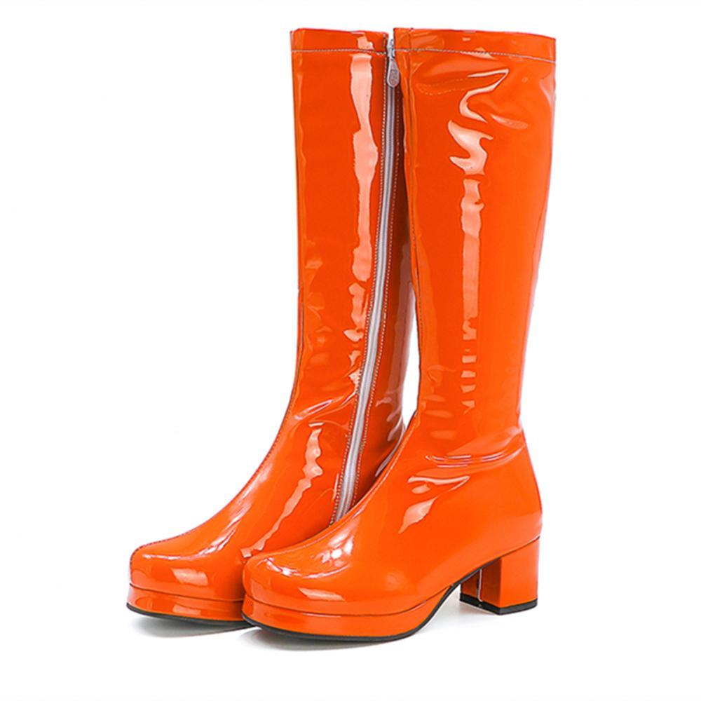 النساء جوجو سكوير تو كعب الركبة عالية الكلاسيكية بو الجلود البريدي للجنسين حزب اللباس أحذية الرقص مثير الإناث الأحذية