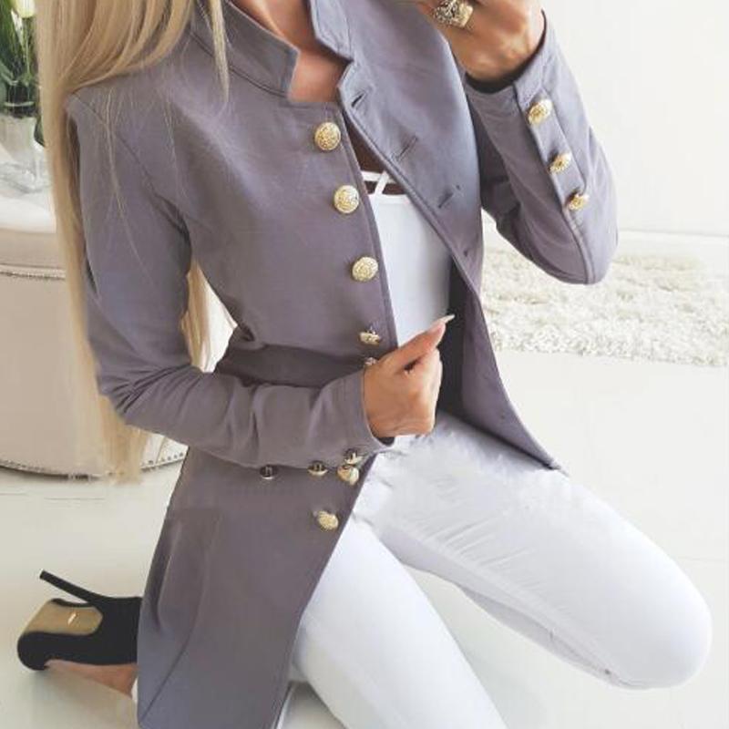 Sonbahar Kış Takım Elbise Blazer Kadınlar Rahat Tek Göğüslü Cep Kadın Uzun Ceketler Zarif Uzun Kollu Blazer Giyim 2019 Yeni X1214