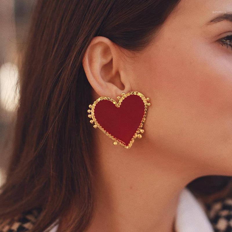 Minimalistische Emaille Rote Herz Ohrringe für Frauen Mädchen Einfache Gold Farbe Metall Liebe Herz Große Drop Baumeln Ohrringe Partei Schmuck1
