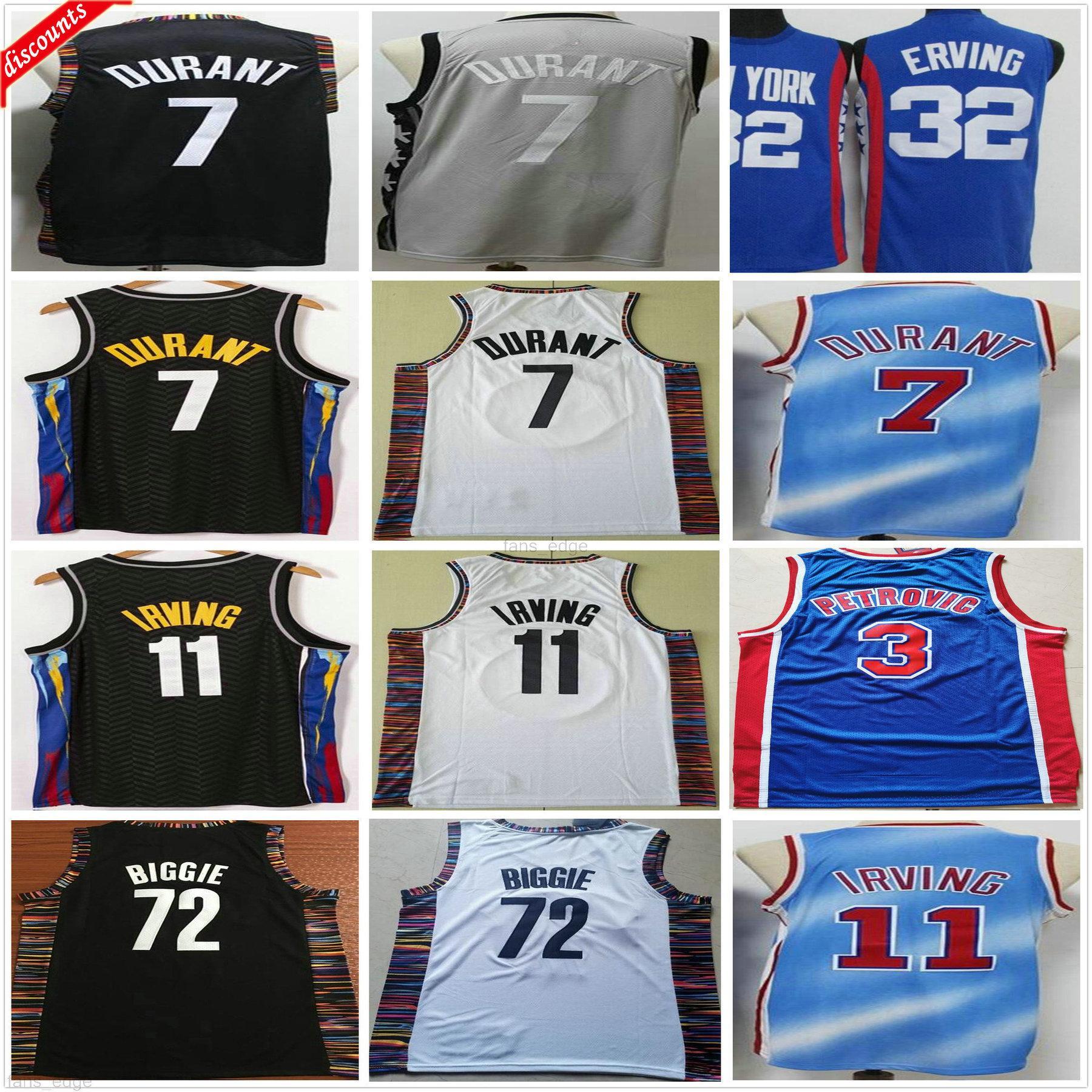 Retro Vintage Classic Drazen 3 Petrovic Julius 32 Ernt 72 Biggie Basketball Trikots Großhandel Günstige Kevin 7 Durant Irving Jersey