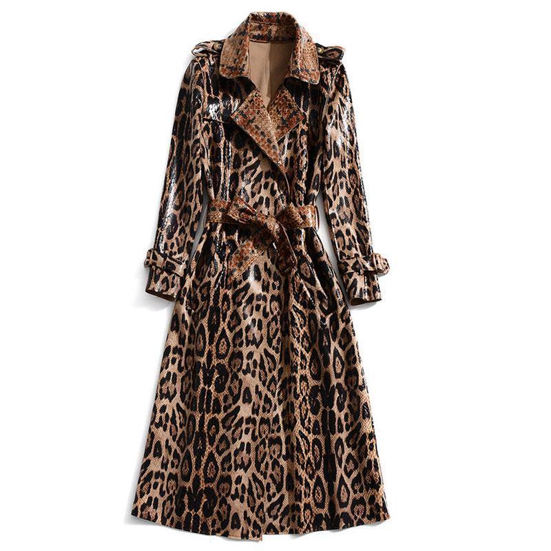 Women's Trench Coats XF Windbreaker 2021 Spring And Autumn Fashion Designer Show Lapel Belts Snakeskin Leopard Print England Elegant Coat