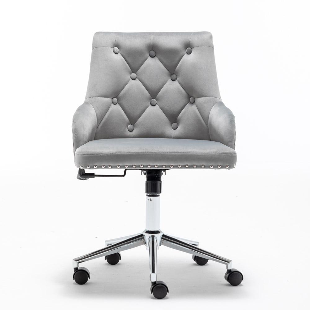 Waco High Back Office Velvet Компьютерный стул, Главная Мебель Поворотный Современный дизайн для Задача Приемная Спальня Исследование, с оружием (Грей)
