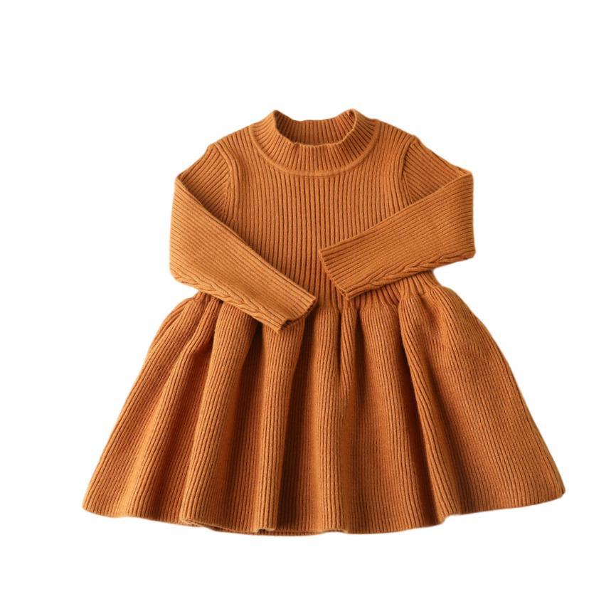 Outono inverno meninas lãs malha camisola bebê menina vestido meninas vestidos para festa e casamento bebê roupas 20118