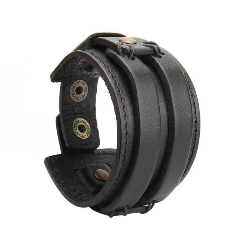 Урожай браслет кожаных браслетов браслет браслет запястье веревка для мужчин (черный)