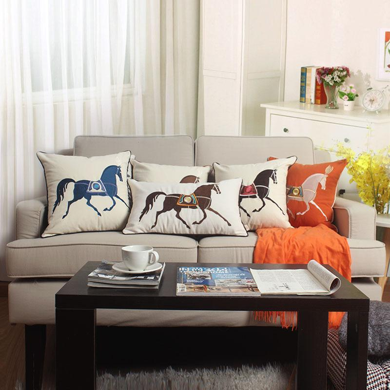 Solid High-grade Horse Embroidered Cushion Covers Modern Simplicity Waist Pillowcases Home Sofa Bed Decor Pillow Cases Covers