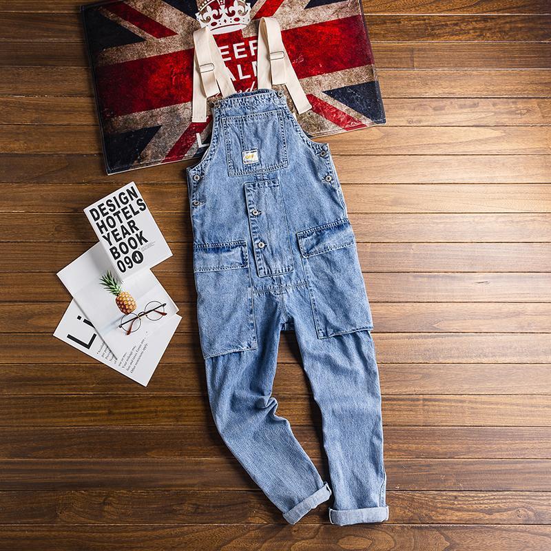 Мужские джинсы американские ретро инструменты мужской комбинезон хип-хоп тренд свободные нагрудники светло-синий комбинезон мода дикие подтяжки мужские приливы