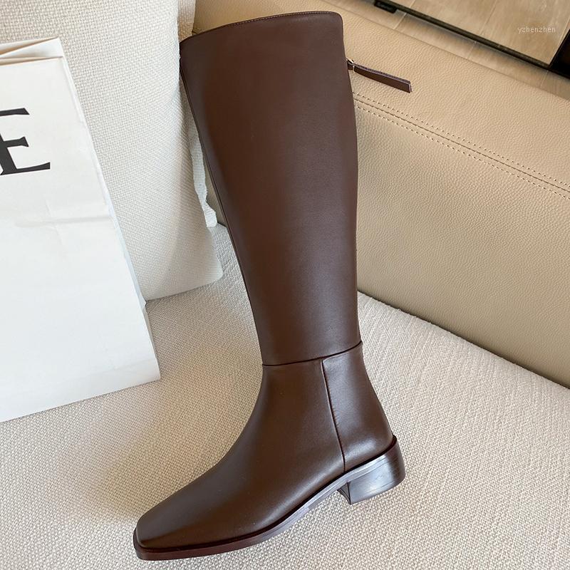 2021 Genuíno joelho de couro alto botas de mulher zíperes outono inverno sapatos mulheres grossas baixas saltos sapatos mulher escritório senhora bombas1