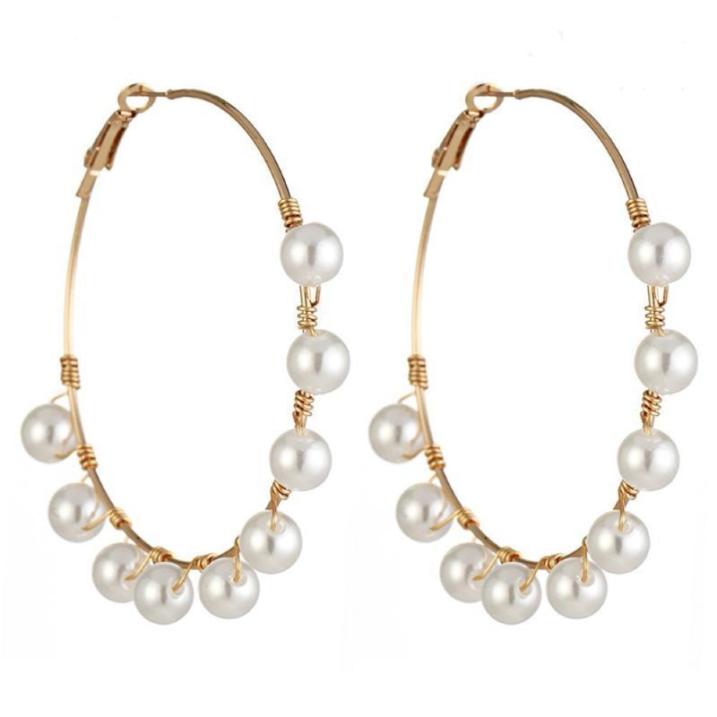 New Ladies Pearl Anillo Serie Temperamento Personalidad Salvaje Perla Pendientes Gran Círculo Moda Joyería Europea de la Nocturna