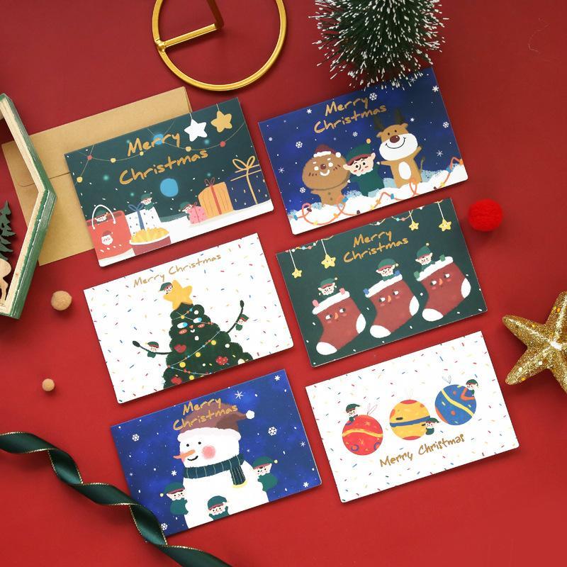 Alta calidad 10 unids 10 unids Feliz Navidad Tarjetas de felicitación Año Nuevo Tarjeta de regalo Tarjeta de Navidad Decoración del árbol de Navidad