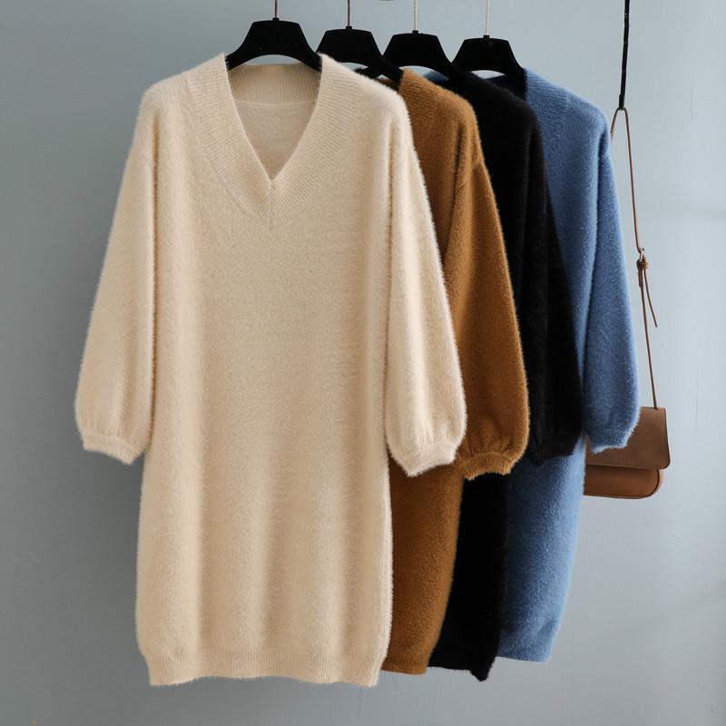 Casual Kleider 2021 Herbst Winter V-Ausschnitt Kurze Laterne Ärmel Dicke Pullover Kleid Pelz Frauen Lose Mini Weibliche Chic Gerade