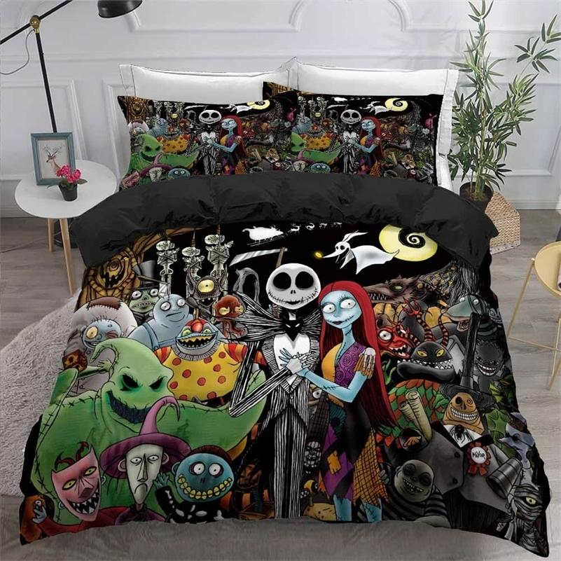 The Nightmare Before Christmas Comforter Cover with Pillowcase 2/3Pcs Boys Girls Home Quilt Cover Movies Character Bedding Set 201211