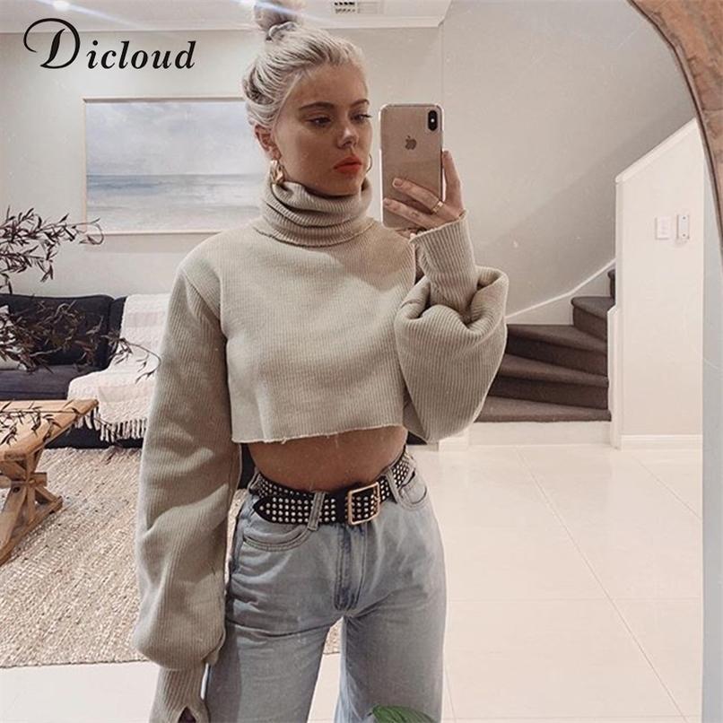 Dicloud Turtleneck Kadınlar Kırpılmış Kazak Kış Boy Uzun Kollu Sıcak Örme Kazaklar Moda Streetwear 201221
