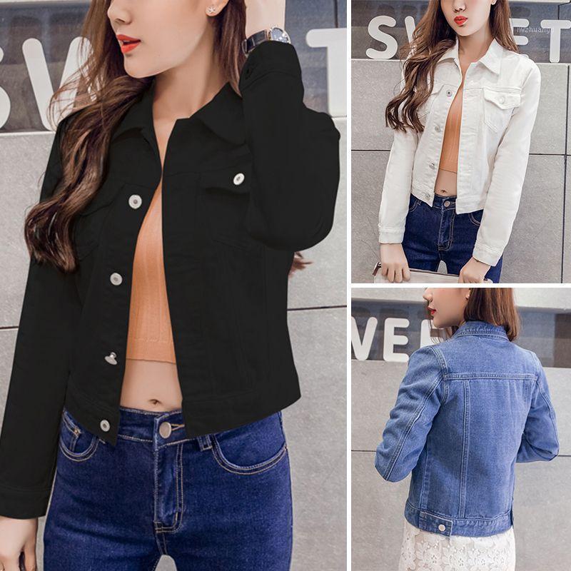 Женские женские куртки парня Женская куртка Женская джинсовая винтаж с длинным рукавом повседневная тонкий пальто Candy Color Bomber1