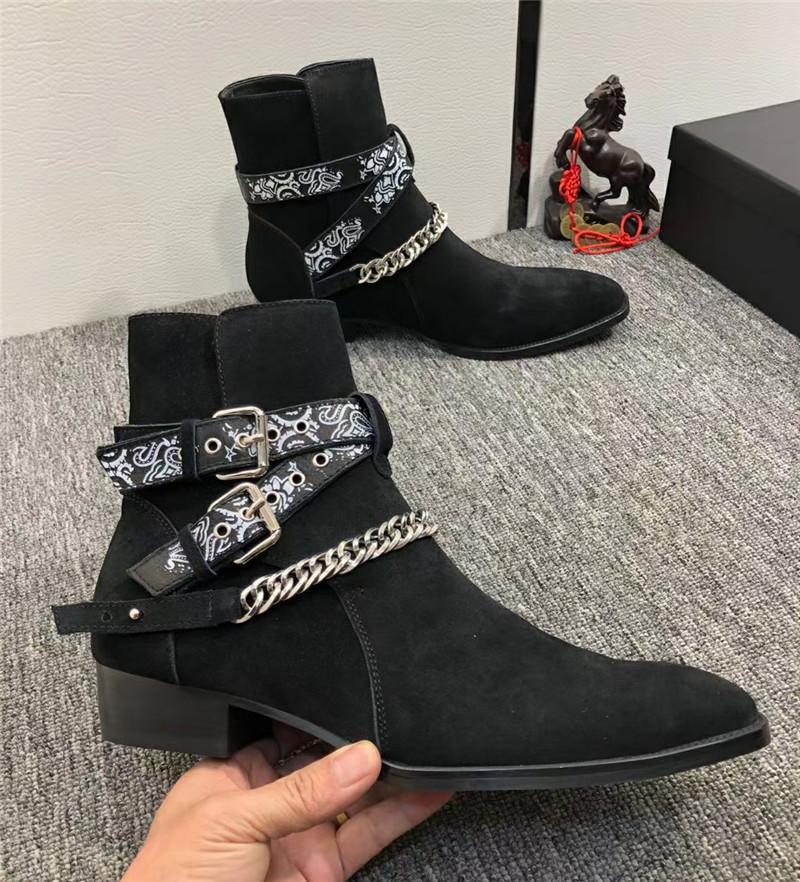 2019 جديد مصمم الرجال مارتن الأحذية الذكور الأزياء الخصر سلسلة شخصية أشار متجمد جلد رعاة البقر روبارب الأحذية 37-45