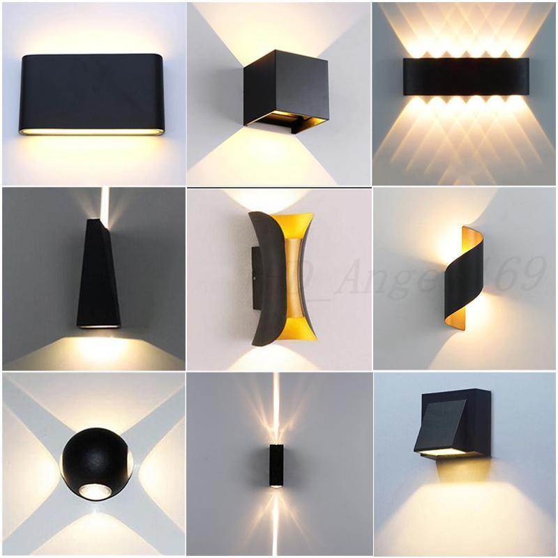 Luz de parede LED 85-265V IP65 Lâmpada de parede de alumínio à prova d'água para interior da escada ao ar livre Banheiro Jardim Patamar Quarto Espelho Lâmpada Frete Grátis