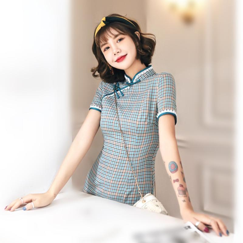Dames coton coton lin genou cheongsam chinois qipao robe été robe mince trace adolescente