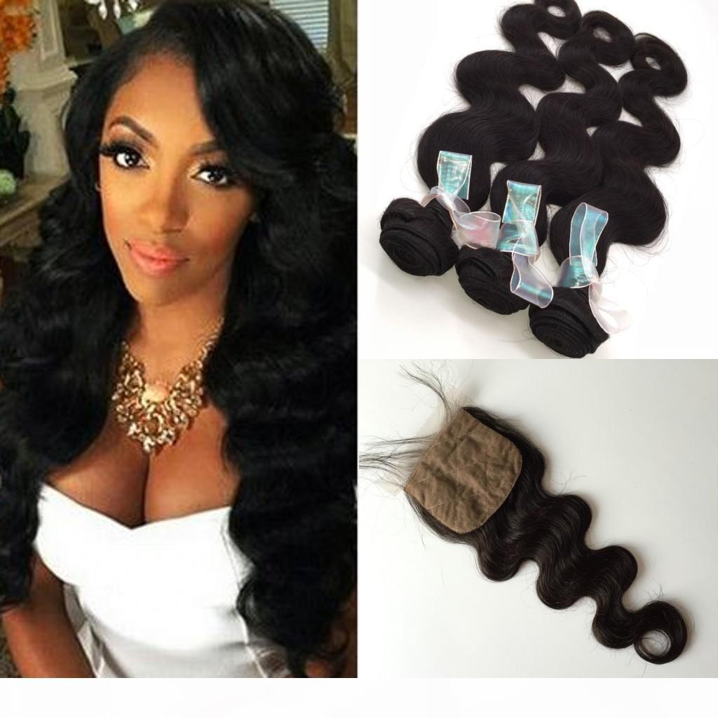 дешевые 3 пачками волосы волны тела девственницы с 1 шт. Шелковый базовый базовый закрытие высочайшего качества перуанские пакеты волос