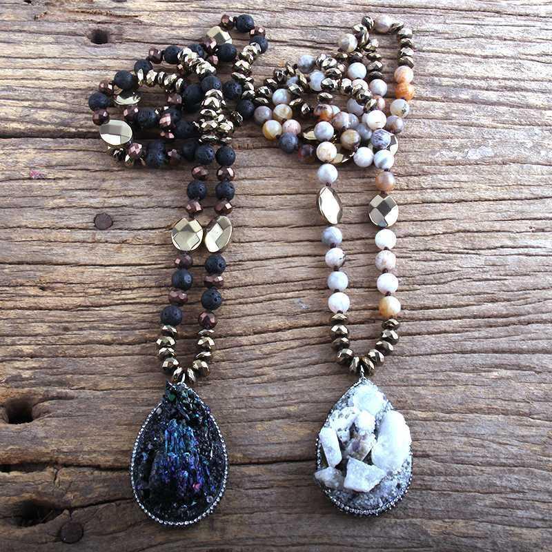 MD Mode Bohemian Tribal Bijoux Semi précieux Pierre Colliers noués avec noué avec pendentif Druzy Collier Femme Cadeau1
