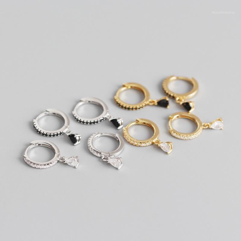 YPAY 100% Pendientes de aro de plata esterlina 925 de 925 para mujer INS BLANCO / NEGRO Circón de circón con forma de gota Pendiente de círculo YME8291