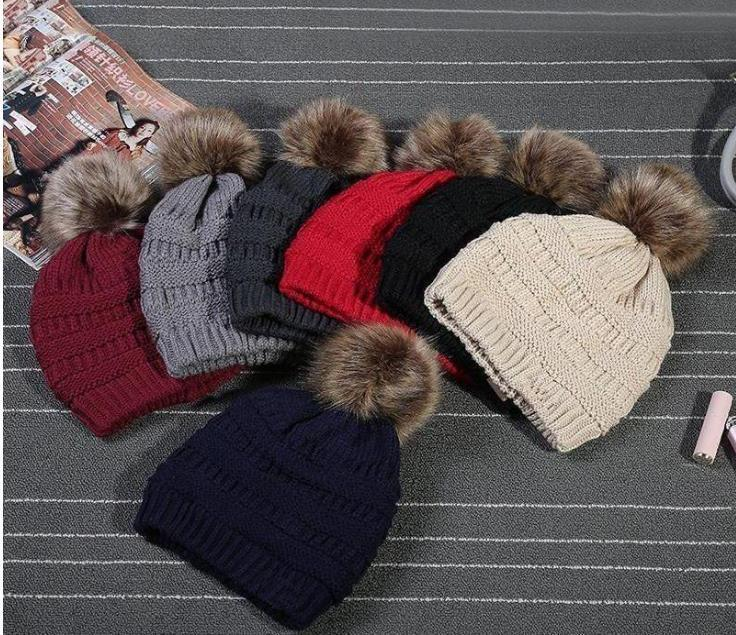Kids Adults Thick Warm Winter Hat For Women Soft Stretch Cable Knitted Pom Poms Beanies Hats Women S Skullies Beanies Towel