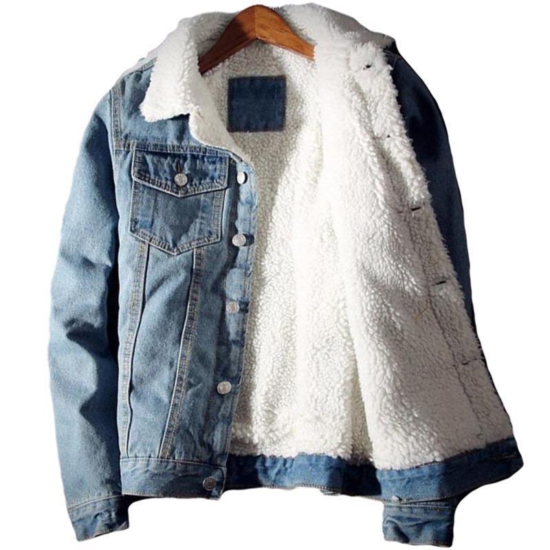 Hombres chaqueta vaquera caliente de moda de invierno polar abrigos para hombre Outwear chaquetas Jean de la manera masculina del vaquero ropa más el tamaño 5XL 6XL Casual