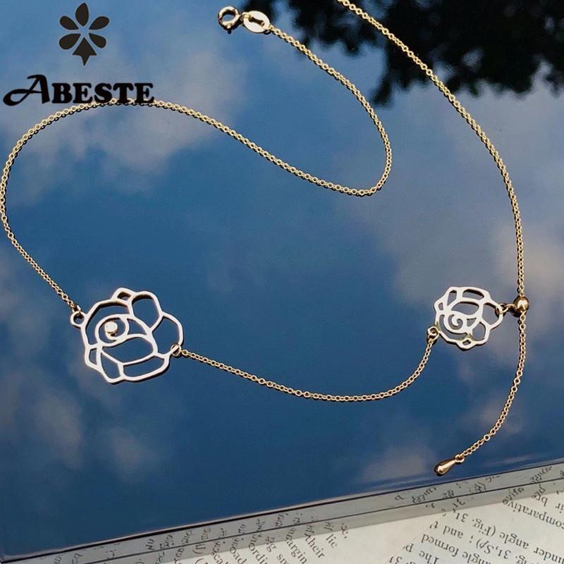 Цепи Ani 18k AU750 Сплошная роза / желтое золото ожерелье мода женские рельефы стиль рождения подарок роза формы кулон