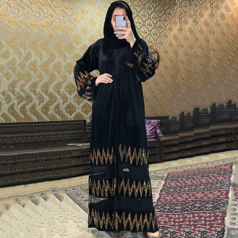 Roupas étnicas MD Moda muçulmana Abayas para mulheres Dubai Turkish pedras de manga comprida vestido de noite elegante vestidos islâmicos marroquinos kaftan1