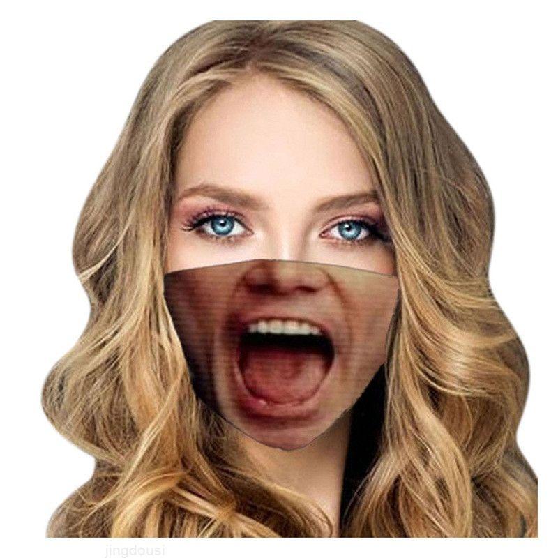 Appeso divertente mascarilla maschera riutilizzabile respiratore panno antipolvere orecchio viso stampa 3d stampa cartoon ventilazione protezione giornaliera 4 5WSB D2 YT