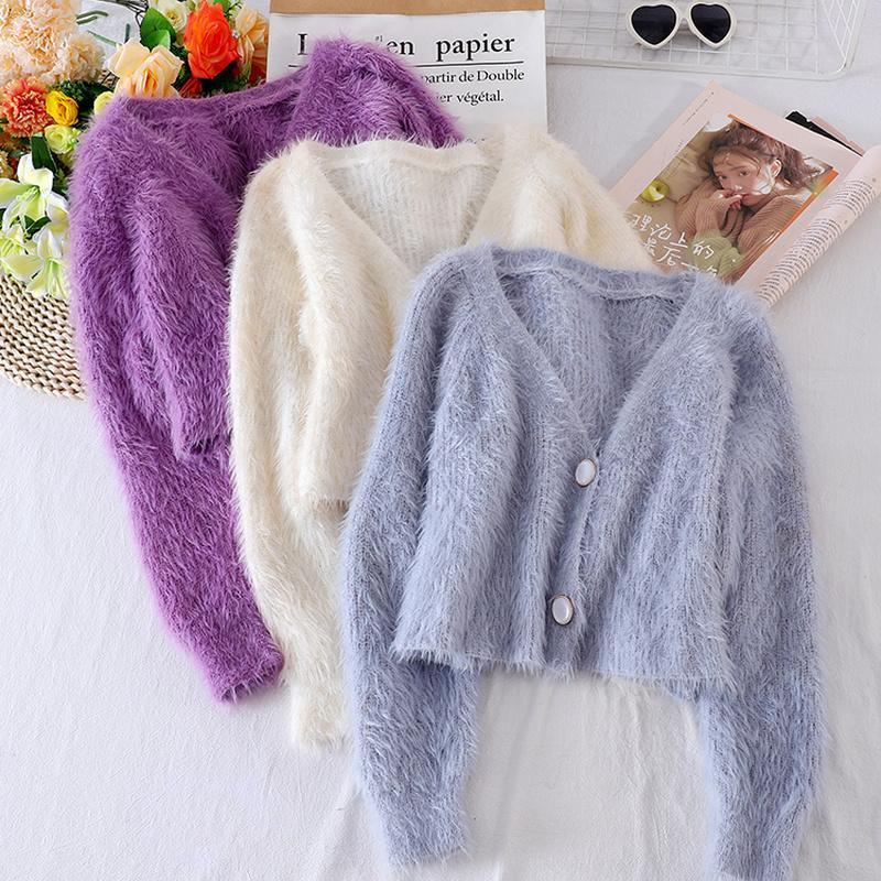 2020 novas mulheres suéter de colheita outono inverno coreano v pescoço botão up mohair de malha suéteres mulher Único-breasted Cardigan curto