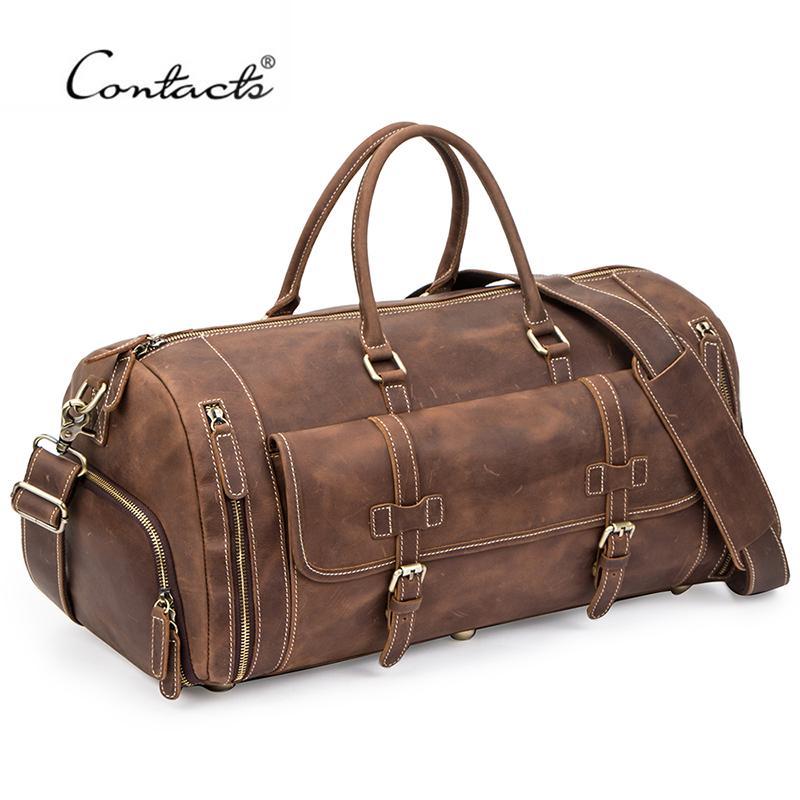 Kontakts Reisen Männer Handtaschen Crazy Horse Leder Duffle Gepäck Tasche Große Kapazität Vintage Koffer Einkaufstasche Männliche Shouder Taschen