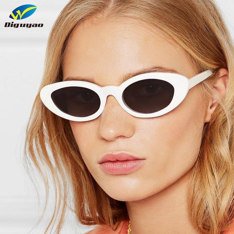 2020 Vintage kadın Güneş Gözlüğü Kedi Göz Gözlük Beyaz Kırmızı Siyah Güneş Gözlüğü Kadın Retro Marka Tasarımcısı