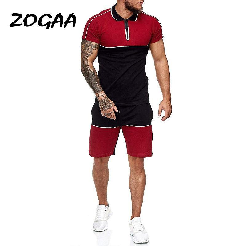 Chándal de los hombres Zogaa Sets Hombres Verano Sports Traje Slim Casual Fashion Sportswear Patchwork Traje de chándal para hombre Sweatsuit MÁS TAMAÑO CHIC