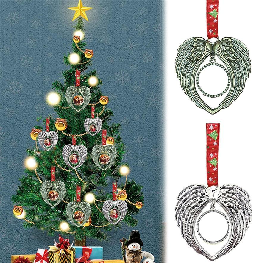 Сублимационные рождественские украшения украшения ангела крылья формы пустые горячие передача расходные материалы для печати поставляет новый стиль оптовые продажи 554T