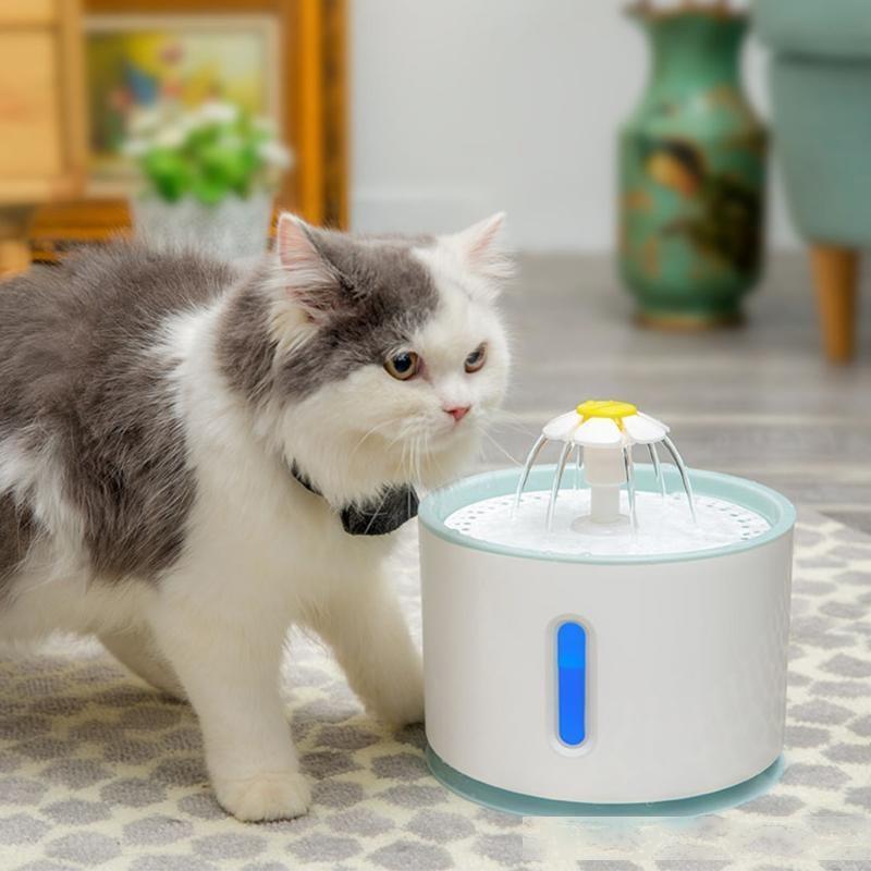 Fontaine d'eau pour animaux de compagnie Filtration remplaçable Alimentateur automatique Muet Carbon activé 2.4L avec couvercle en acier inoxydable USB USB
