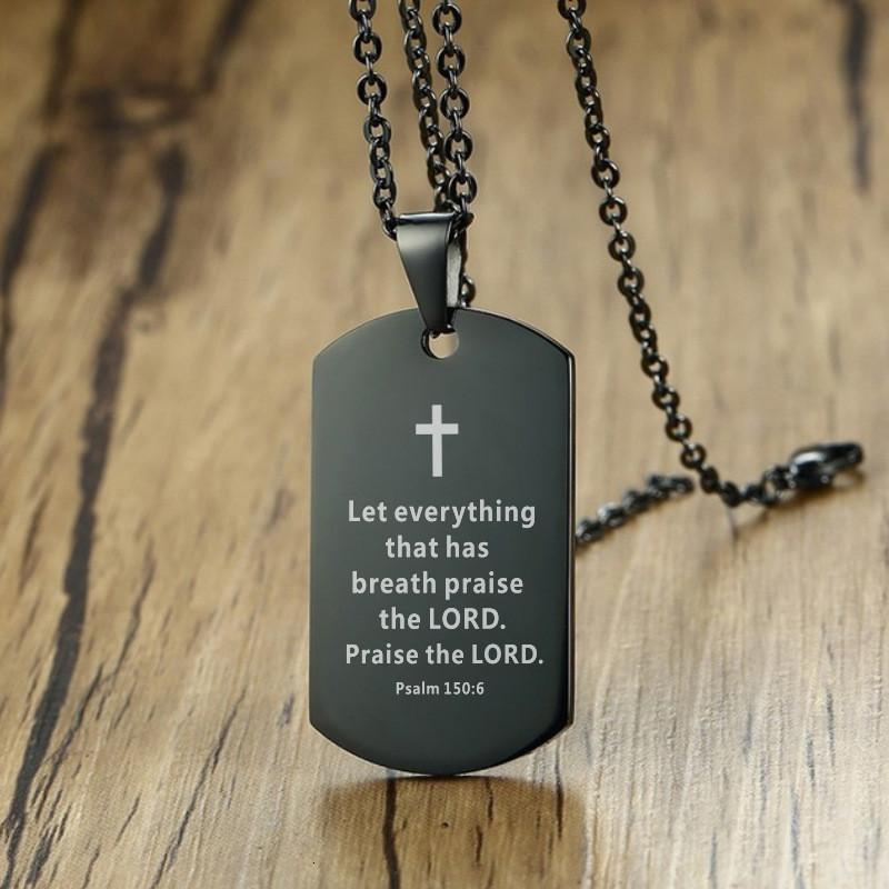 Colar de aço cruz inox bíblia mens verso colar cão tag pingente jóias religiosas preto para o presente de oração cristã