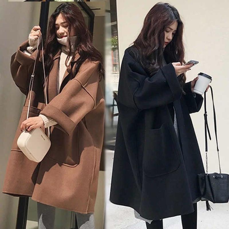 Herbst-Winter-Frauen lange Art Braun Schwarz Mode Weiblichen Woll Thin Outwear beiläufige feste lose Aufmaß Mäntel Plus Size C1115