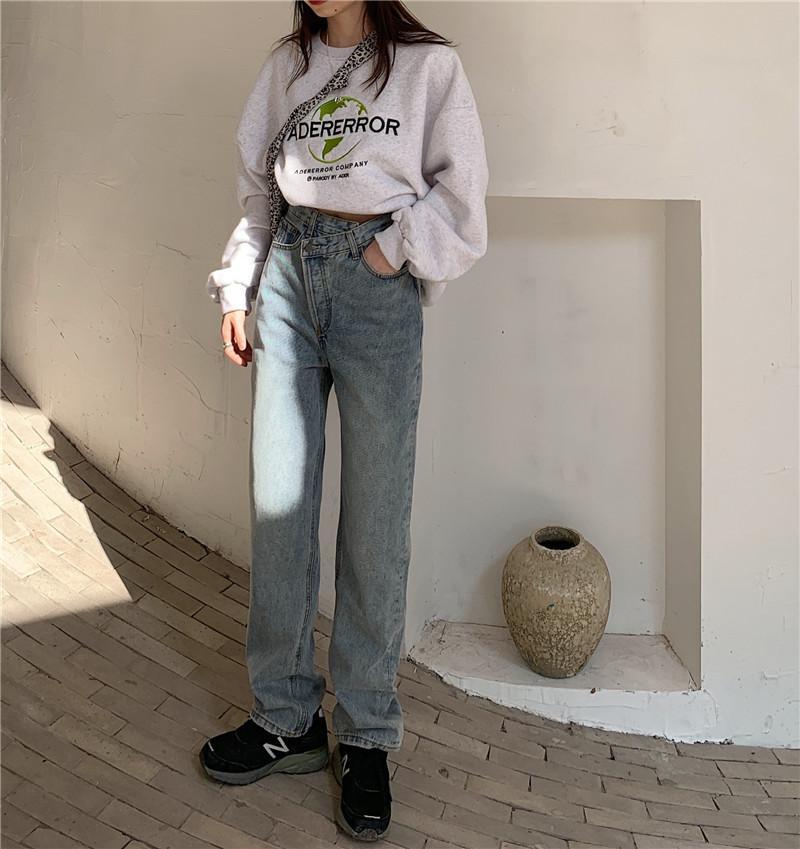 Jeans de mujer estilo coreano mujer holggy mujer alta cintura casual suelto suelto longitud de mezclilla pantalones de mezclilla callejero