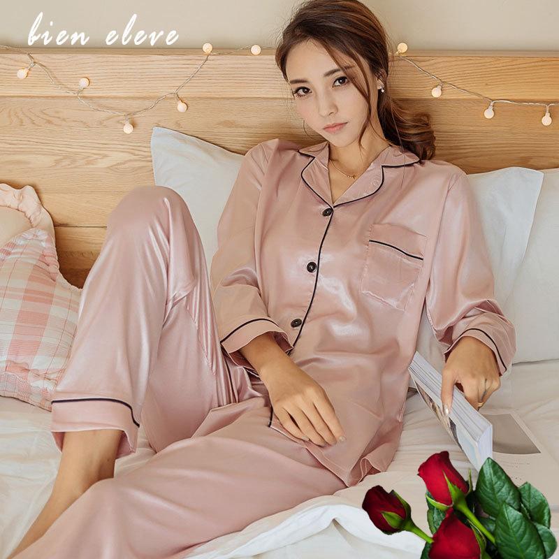 Faux Ipek Saten Pijama Pijama Setleri kadın Seksi Lingeries Uzun Kollu Pijamas Suit Kadın Gecelik Sleepshirt Loungewear W1225